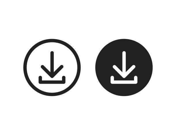 Download vector icon install symbol. Simple flat isolated vector illustration or sign for web site or mobile app. Download vector icon install symbol. Simple flat isolated vector illustration or sign for web site or mobile app. EPS 10 downloading stock illustrations