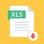 Download XLS icon. File with XLS label and down arrow sign. Spreadsheet file format. Downloading document concept. Flat design vector icon