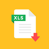 istock Download XLS icon. XLS file with down arrow symbol. Downloading spreadsheet document. Tabular and spreadsheet format. Import, export sheet, save file with XLS extension concepts. Download button. Flat style design. Vector icon 1251414268