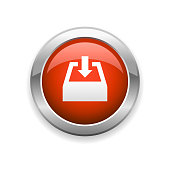 istock Downloading and Document Tray Glossy Icon 1225939127