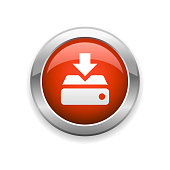 istock Downloading and Hard Drive Glossy Icon 1261700398