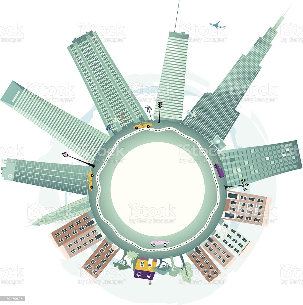 Downtown and suburbs vector art illustration