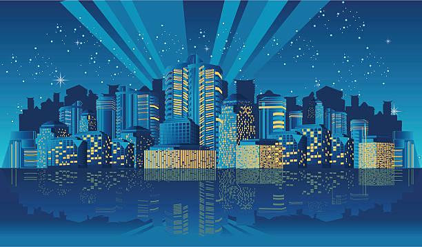 Downtown at Night vector art illustration