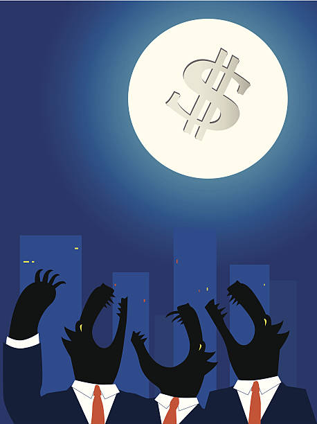 Downtown business wolves holwing at the Moon Wolves in business suits howling on a full moon with a dollar sign on it, big city landscape on the background, vector cartoon, no transparencies wall street stock illustrations