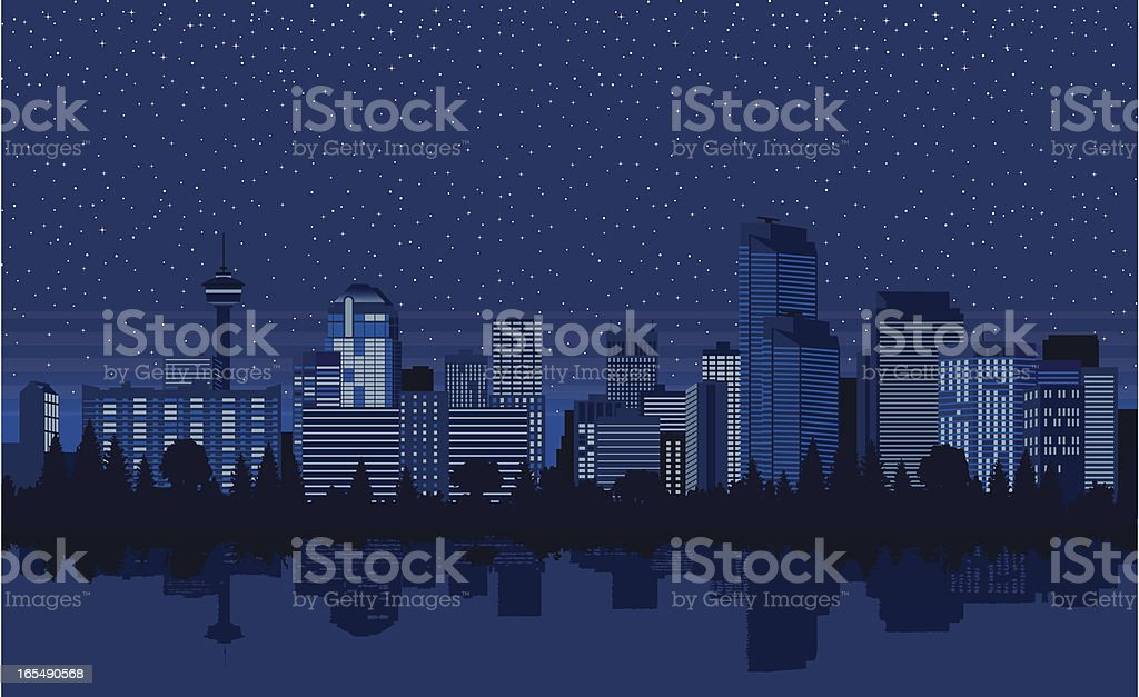 Downtown Calgary at Night royalty-free downtown calgary at night stock vector art & more images of alberta