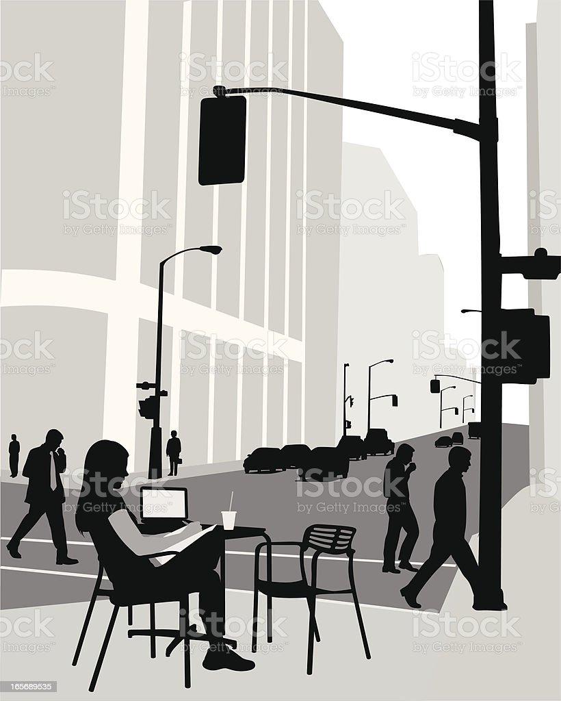 Downtown Life Vector Silhouette royalty-free stock vector art