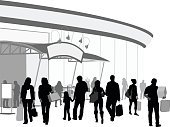 A vector silhouette illustration of anurban shopping centre with a crowd of people in front carrying shopping bags.  There is an awning attached the building with a blank sign and lights pointing towards it.  The group of people consist of mature female friends, a father and daughter holding hands, a single man and signle young woman, and a young couple.