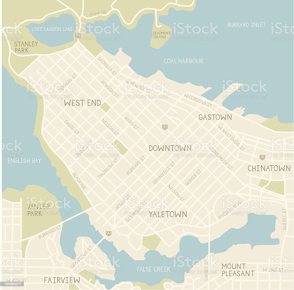 Downtown Vancouver Map (Tan) vector art illustration