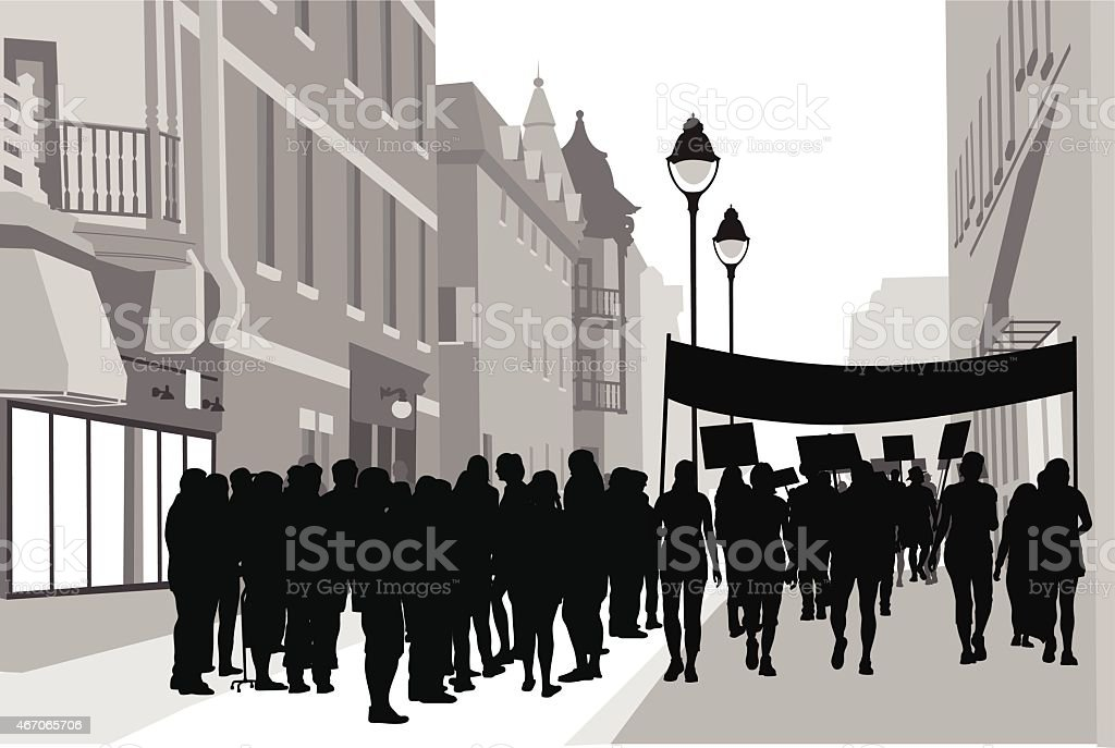 DowntownRally vector art illustration