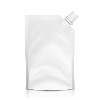 Doy-pack Blank Vector. White Clean Doypack Bag Packaging With Corner Spout Lid. Plastic Spouted Pouch Template