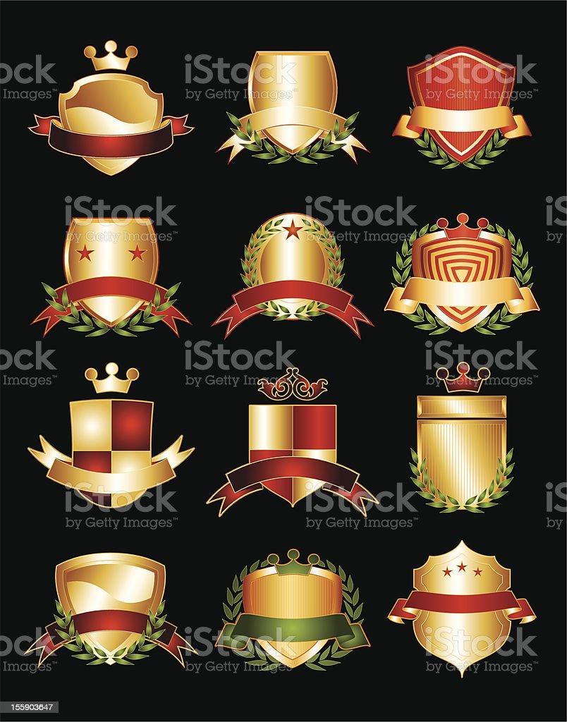 Dozen Golden Crests royalty-free stock vector art