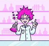 Scientist character with pink hair making a love potion