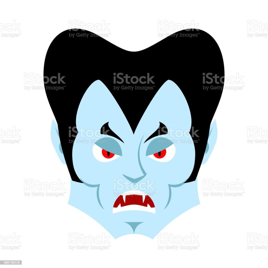 Dracula Angry Emoji Vampire Evil Emotion Face Isolated Stock