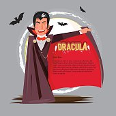 dracula character design open his mantle to presenting. typographic