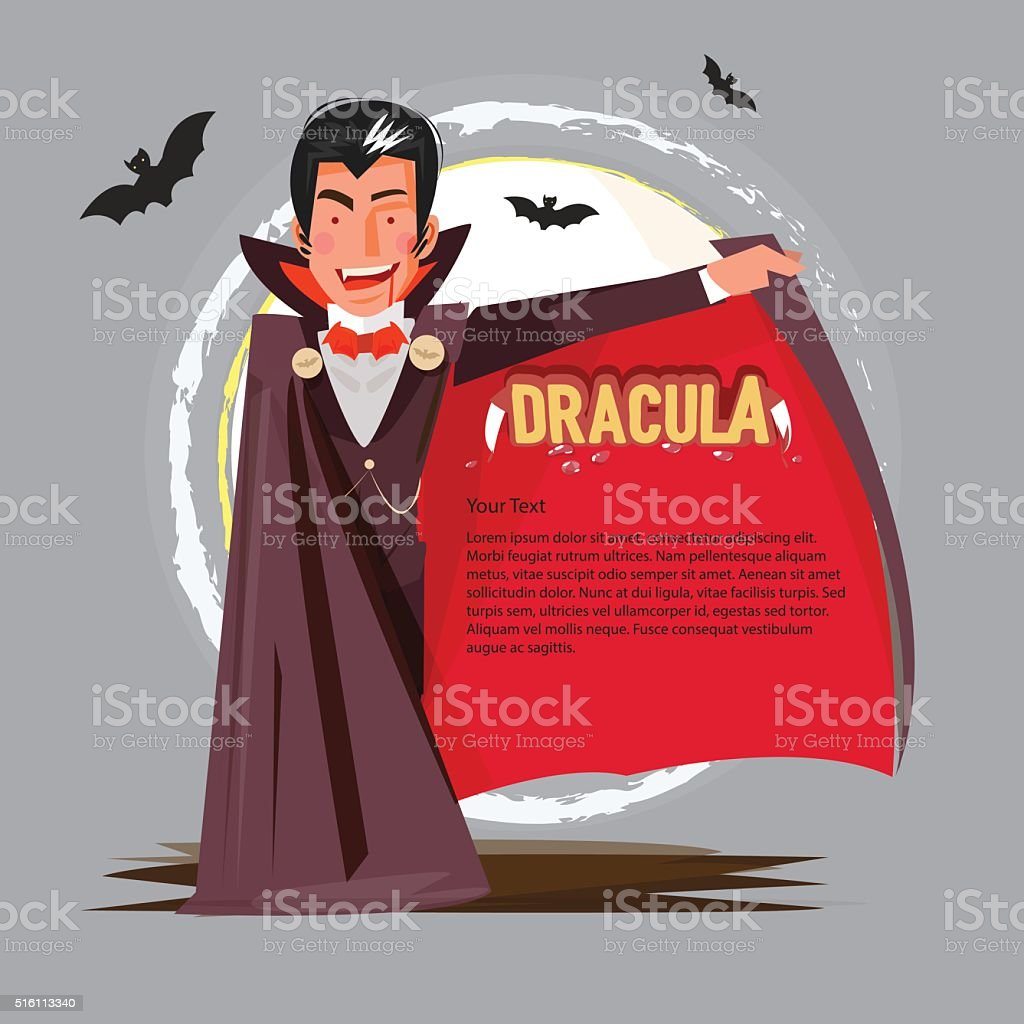 dracula character design open his mantle to presenting. typographic vector art illustration