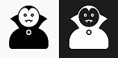 Dracula Halloween Costume Icon on Black and White Vector Backgrounds