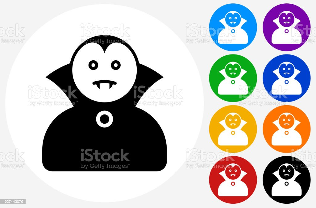 Dracula Halloween Costume Icon on Flat Color Circle Buttons vector art illustration