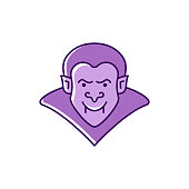 Dracula icon Vampire badge. Colorful flat Halloween icon. Thin line art design, Vector illustration