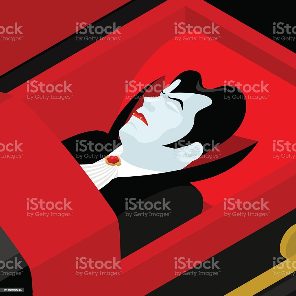 Dracula in coffin. Vampire Count in an open coffin. vector art illustration