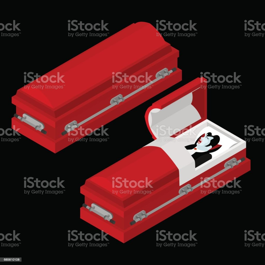 Dracula in coffin. Vampire Count in an open hearse. Ghoul in casket. Retro monster vector art illustration