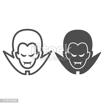 istock Dracula line and solid icon, Halloween concept, Vampire sign on white background, Dracula head icon in outline style for mobile concept and web design. Vector graphics. 1279734261
