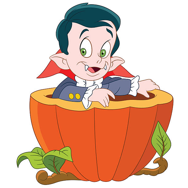 dracula on halloween cute little dracula is in a pumpkin daunt stock illustrations