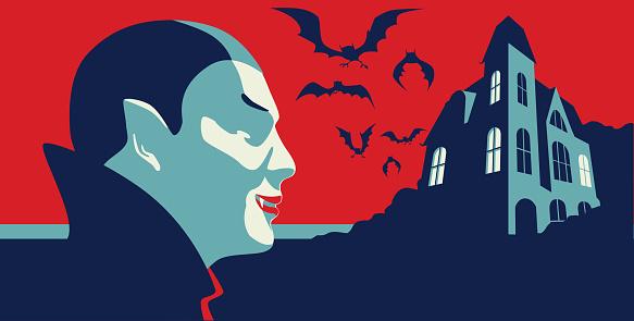 Flat line styled Dracula or Vampire, halloween, october, Spooky, haunted