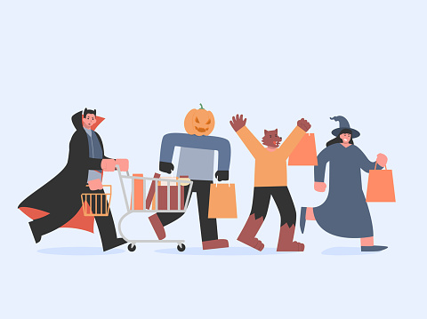 Dracula with shopping cart and witch and werewolf and pumpkin monster with bag running to shopping in Halloween tradition. Devil group in the fantasy department store.