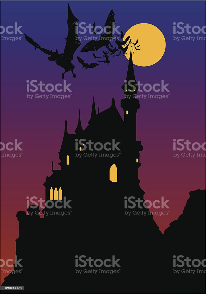 dracula's home vector art illustration