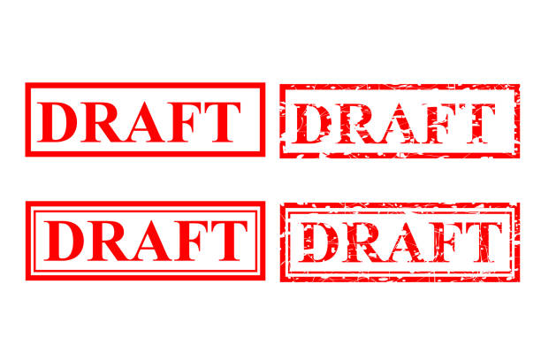 Draft. four style red rubber stamp effect, Draft. vector four style red rubber stamp effect, draft qualification round stock illustrations