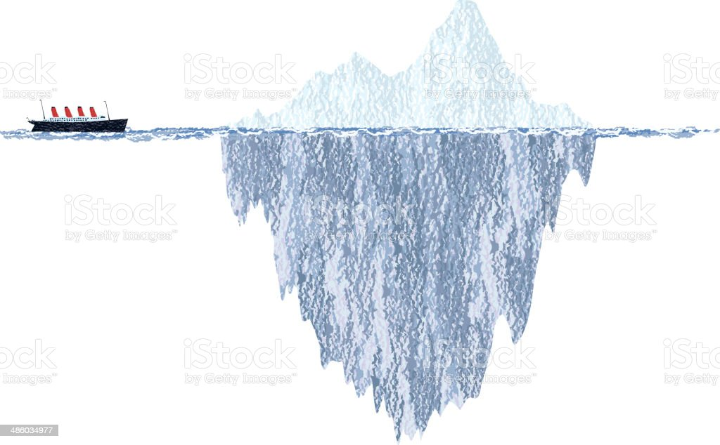 Draft Iceberg and Cruise Ship vector art illustration