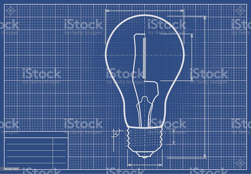 Drafted Light Bulb On Blueprint Paper vector art illustration