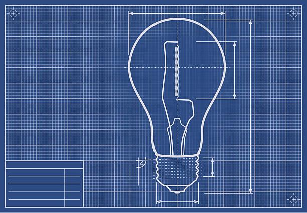 stockillustraties, clipart, cartoons en iconen met drafted light bulb on blueprint paper - uitvinding