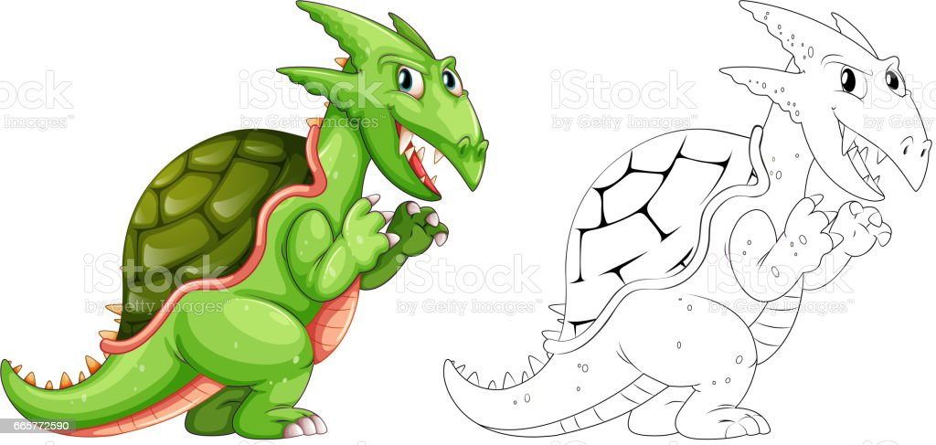 Drafting animal for dragon with shell vector art illustration
