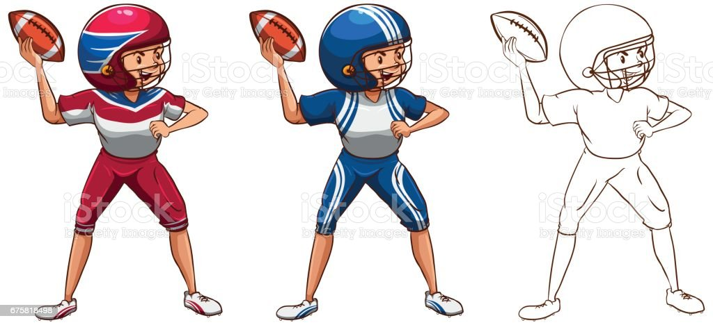 Drafting character for american football player vector art illustration
