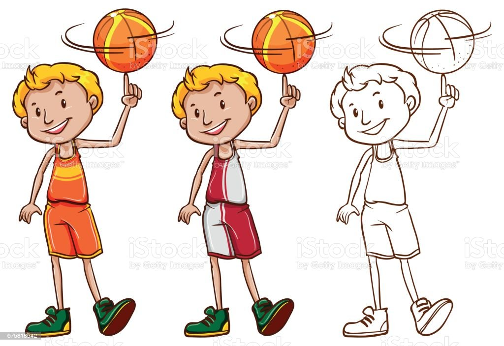 Drafting character for basketball player vector art illustration