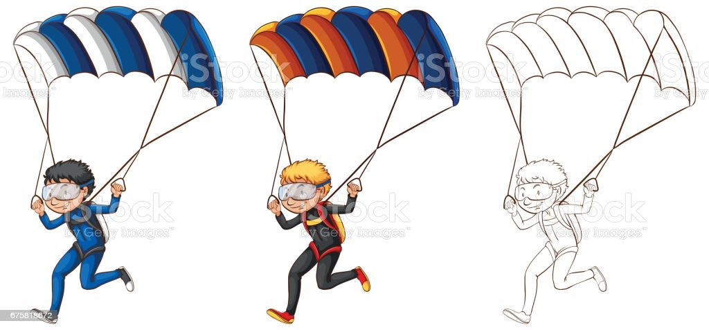 Drafting character for man doing parachute vector art illustration