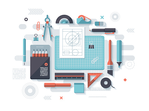 Drafting Flat Design Concept