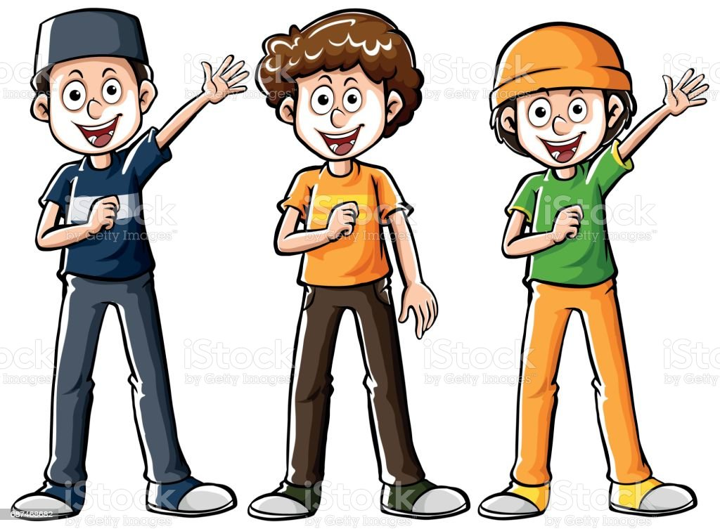 Drafting human character for muslim boys vector art illustration
