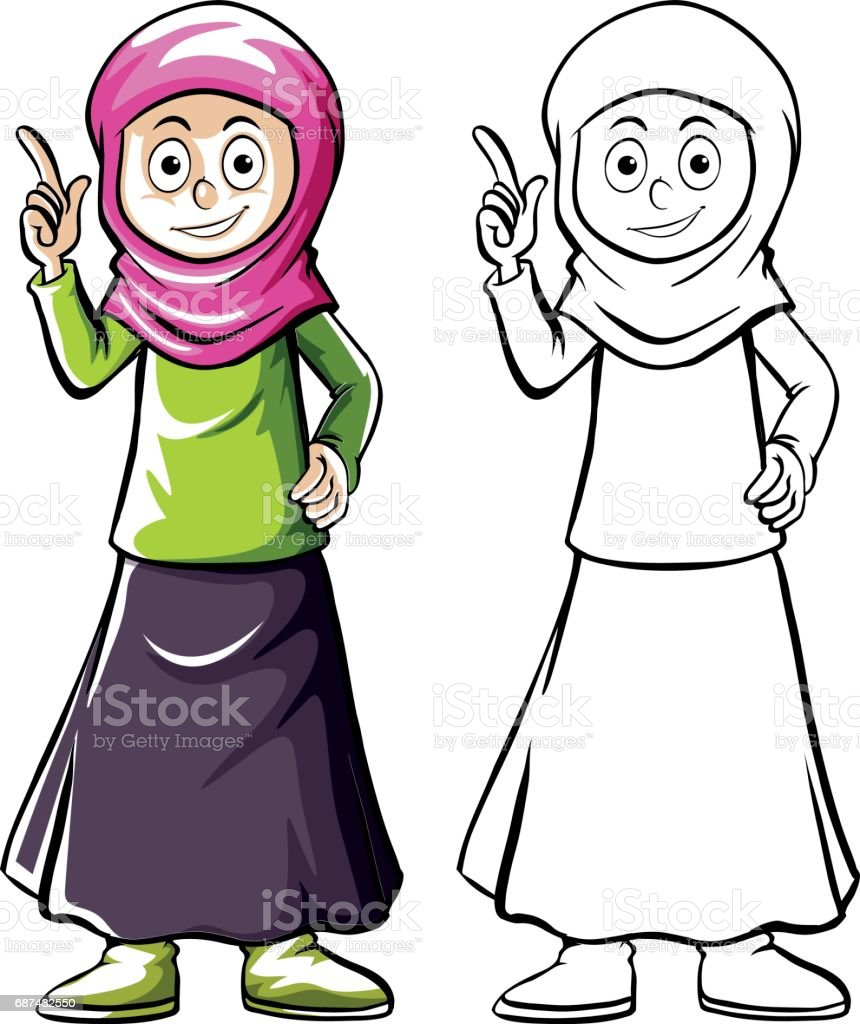 Drafting human character for muslim girl vector art illustration