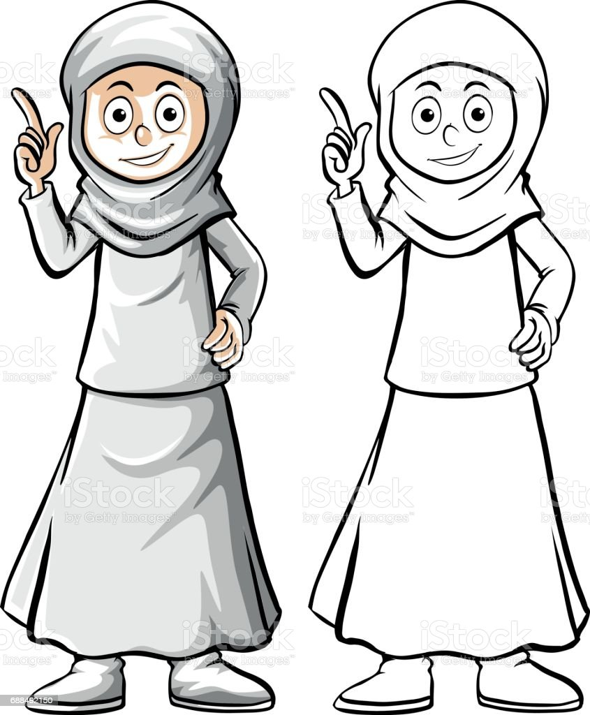 Drafting human character for muslim woman vector art illustration