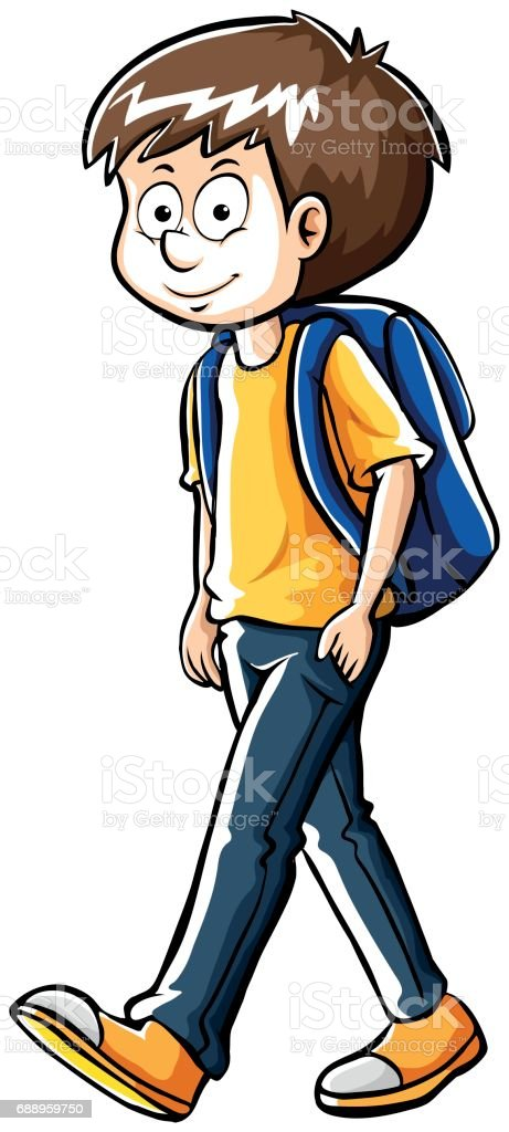 Drafting human character for schoolboy vector art illustration