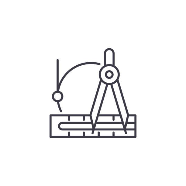 起草儀器線性圖示概念。繪製儀器線向量符號, 符號, 插圖。向量藝術插圖