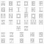 Drafting paper alphabet. Vector drawing sketch letters