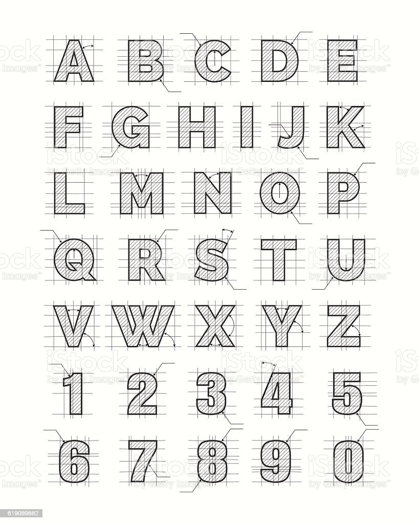 Drafting paper alphabet vector art illustration