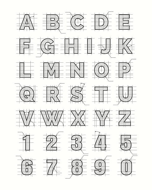 Drafting paper alphabet Drafting paper alphabet. Vector drawing sketch font letters alphabet designs stock illustrations