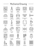 Drafting tools icon collection. Technical drawing. Line icons set. Drafting kit, ruler, drawing board, protractor, tape, compass.