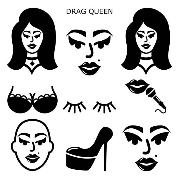 stockillustraties, clipart, cartoons en iconen met drag queen vector iconen set, drag show, drag performance, man verkleed als sexy vrouw idee - drag queen