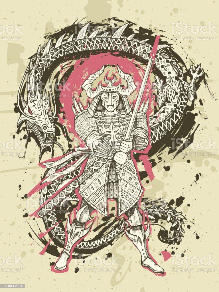 Ilustracion De Dragon Y Samurai Japones Batalla Dibujado A Mano Arte De Fantasia Tatuaje De Serpiente Vs Guerrero Ilustracion Vectorial Y Mas Vectores Libres De Derechos De Acuarela Istock