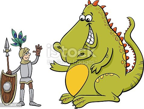 istock dragon and knight having a friendly talk cartoon illustration 1287943988